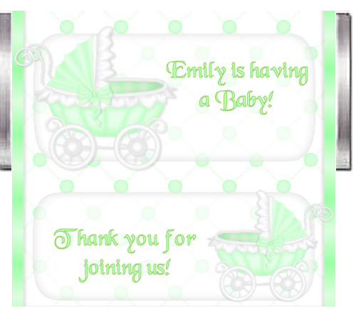 Unisex baby shower custom candy bar wrapper