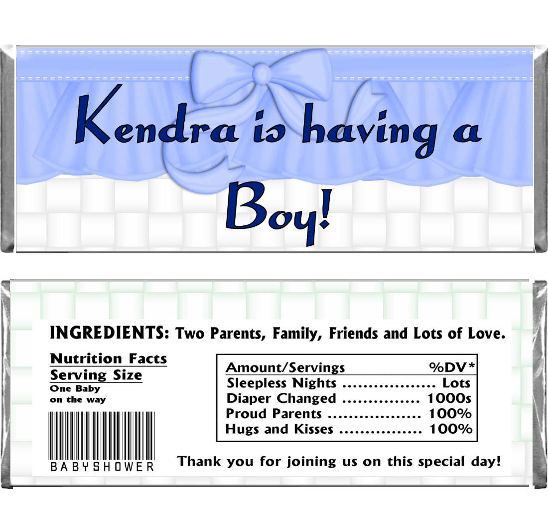 baby boy shower candy wrapper