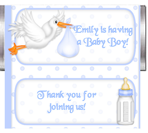 Baby Boy Stork Custom Candy Bar wrapper