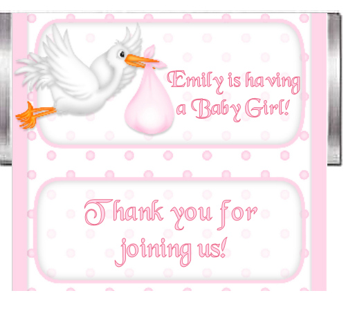 Baby Girl Shower Custom Candy bar Wrappers