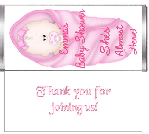 Pink Baby Shower Custom Candy Bar Wrapper