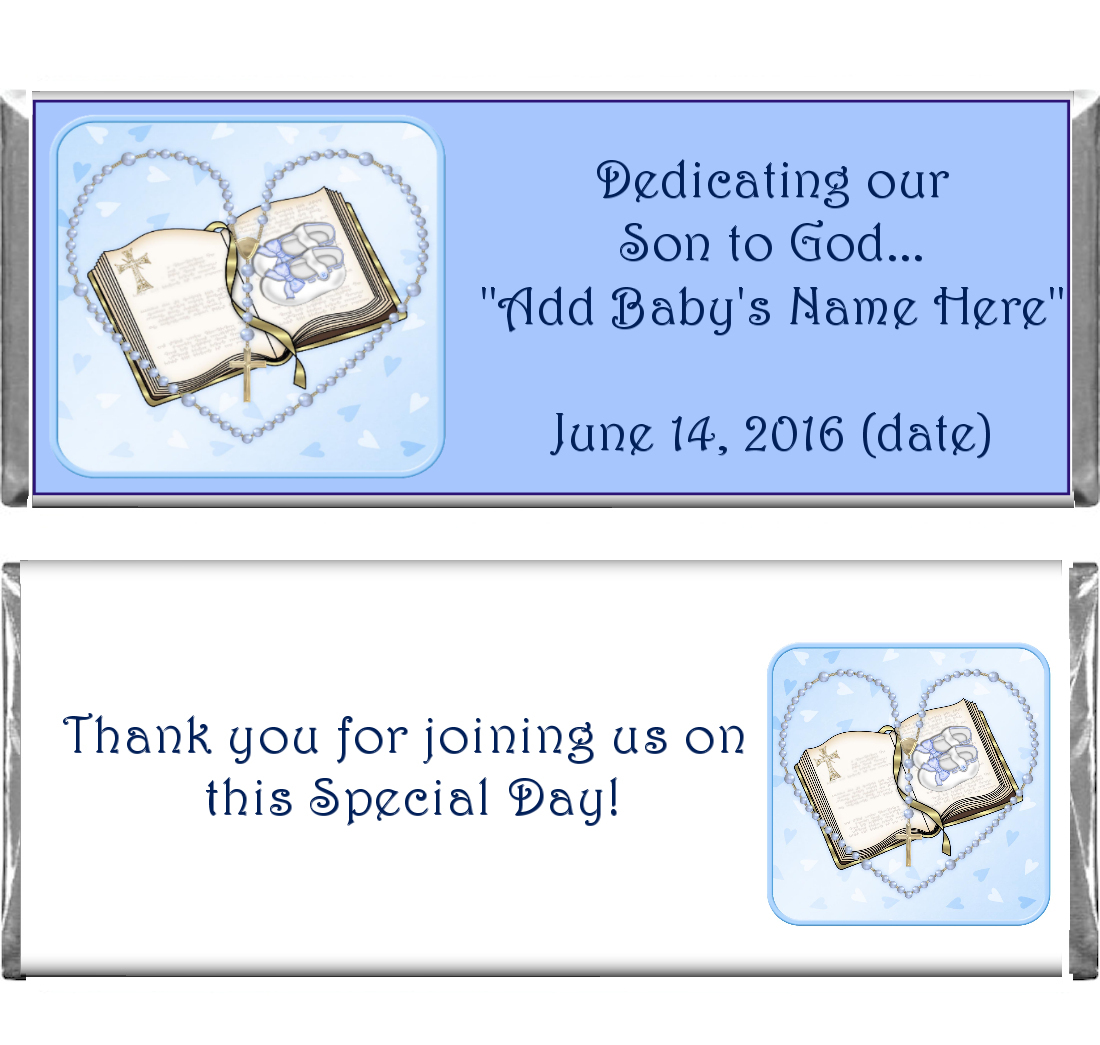 Religious Confirmation Baptism Custom Cand Bar Wrappers
