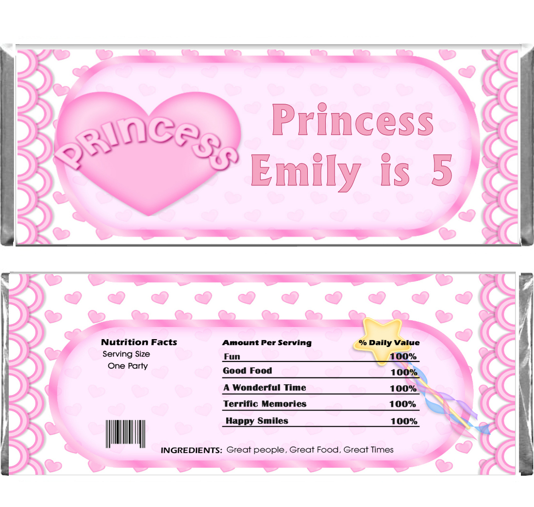 Princess Birthday Candy Bar wrappers