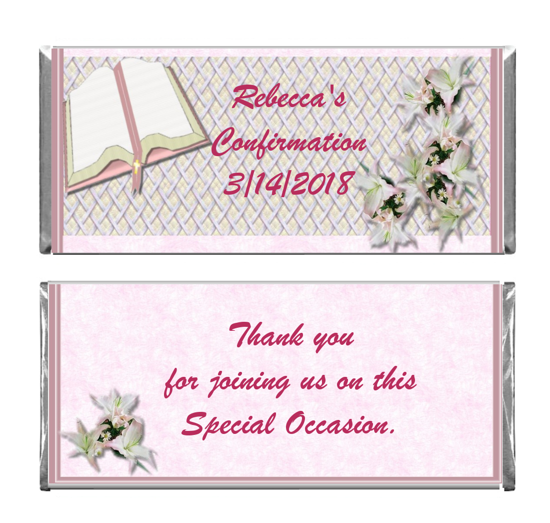 Baptism Confirmation Custom Candy bar wrappers